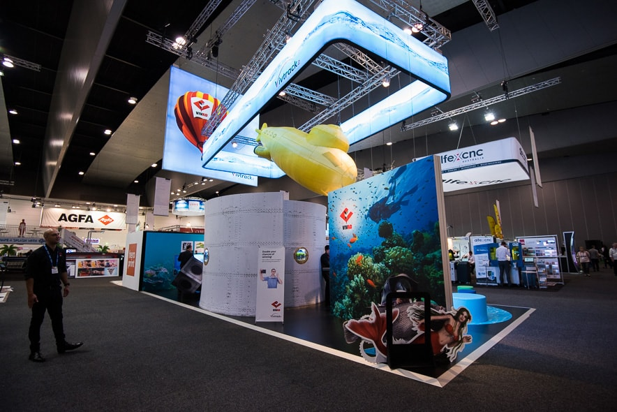Exhibition stand with submarine hanging sign